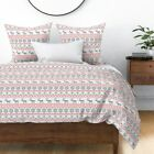 Ugly Sweater Jumper Xmas Christmas Red Sateen Duvet Cover by Roostery