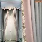 Nordic modern fashion gray pink cloth blackout curtain valance tulle panel C261