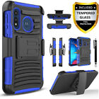 For Motorola Moto 2020 / E6 Phone Case, Kickstand Belt +Tempered Glass Protector