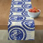 Table Runner Blue Willow Asian Temple Circle Toile Cotton Sateen