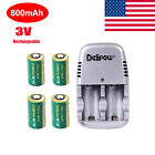 Camera 3V 800mAh CR2 Rechargeable 15270 Lithium Battery With Charger Adapter US