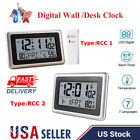Atomic Wall Desk Clock Large LCD Display Indoor Outdoor Temperature Snooze USA