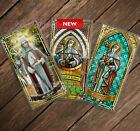 Saint Brigid of Ireland Kildare Stained Glass and Statue laminated Holy cards