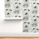 Removable Water-Activated Wallpaper Bumble Bee Vintage Floral Flowers Antique