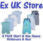 BABY BOYS 3 PACK ROMPERS BABYGROWS EX UK STORE 1-24 MONTHS COTTON BRAND NEW