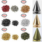 100 Cone Metal Spikes Punk Rivets Screwback Studs Leather Shoes Jacket Bag Craft