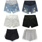 Women Low Rise Wide Elastic Band Waist Pregnant Denim Shorts Maternity Jeans New