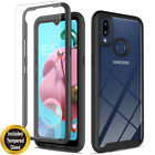For Samsung Galaxy A10S Case, Dual Layers Cover + Tempered Glass Protector