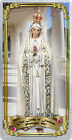 Our Lady of Fatima laminated Catholic Holy Card. Statue of Mary Art.