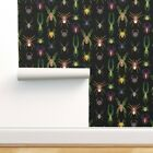 Wallpaper Roll Colorful Spiders Jewel Tone Bugs And Insects Creepy 24in x 27ft