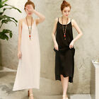 Women Full Slips Cotton Linen Strappy Chemise Long Dress Plus Size Petticoat