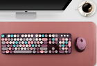 Lovely Girl Colour 104 Key 2.4GHz Dot Wireless Keyboard and Mouse Set For PC.