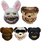 Scary Halloween Costume Party Props Crazy Bloody Plush Bear Bunny Rabbit Mask