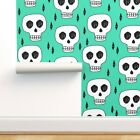 Peel-and-Stick Removable Wallpaper Skulls Skull Halloween Bone Green Scary