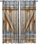 FortuneHouse8 Blackout Curtains Thermal Insulated Vintage Barn Door Rustic Wood