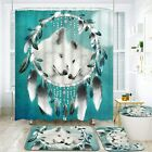 Ikfashoni 4 Pcs Wolf Shower Curtain Sets with Non-Slip Rug, Toilet Lid Cover and