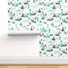 Wallpaper Roll Watercolor Mountain Woodland Bear Green Pink 24in x 27ft