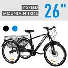 Adult Tricycle 7-Speed Three-Wheel Mountain Trike with Basket for Men Women 26