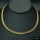 18k Yellow Real Solid Gold Filled 6mm Curb Cuban Mens Chain Necklace Jewellery