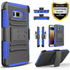 For Samsung Galaxy S8 /S8 Plus Case,With Belt Kickstand+Tempered Glass Protector