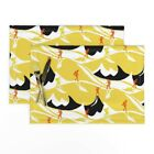 Cloth Placemats Mountain Hike Yellow Hikers Hiking Art Deco Black And Set of 2