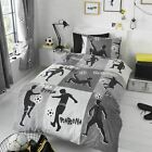 'Hlc Boys Girls Kids Freestyle Football Tricks Grey Charcoal Duvet Cover Curtains