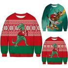 Couple UGLY Christmas Hooded Sweater Men Dinosaur Funny Xmas Jumper Pullover Top