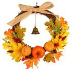 Autumn Maple Leaf Pumpkin Wreath Thanksgiving Halloween Door Garland Decor US