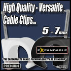 Black White Cable Wire Clips Nail Tidy Wall Fixings Tacks - Leads/Wires...