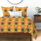 Pineapple Summer Fruit Pink Pattern Pattern Hand Sateen Duvet Cover by Roostery