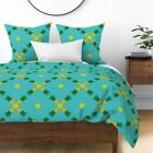 Pineapple Summer Fruit Blue Pattern Pattern Hand Sateen Duvet Cover by Roostery