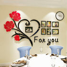 Rose Wall Stickers Removable Acrylic Home Decoration Decals 3d Diy Photo Frame
