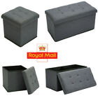 'Grey Linen Folding Storage Ottoman Pouffe Seat Foot Stool Home Storage Box Uk