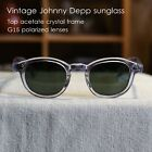 Mens G15 polarized sunglasses Johnny Depp glasses crystal frame green lens UV400