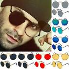Mens Retro Steampunk Sunglasses Round Metal Frame Goggle Flip Up Shade Glasses