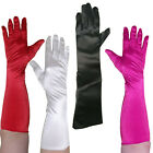 LONG SATIN GLOVES PARTY ALTERNATIVE RETRO VINTAGE WHITE RED BLACK PINK