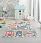 LEKA MY TOWN KIDDY CHILDREN NURSERY RUG WITH TASSLES IN MULTI COLOURS