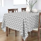 Tablecloth Charcoal White Black Geo Abstract Coordinate Cotton Sateen