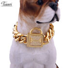 19mm Wide Dog Chain Dog Collar Gold Color Stainless Steel Pet Supplies Strong
