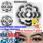 SKONHED 7 Pairs  25mm 8D Mink Hair False Eyelashes Lash Thick Wispy Fluffy Hair