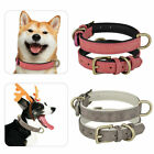 Adjustable Leather Dog Training Collar Metal Buckle Soft Padded Pet Puppy 2Color