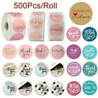 500PC Thank You Sticker Hand Made With Love Labels Round Heart Business Sticker
