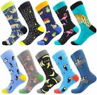 Men's Fun Dress Socks Patterned Crew Colorful Funky Fancy Novelty Funny Casual S