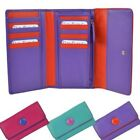 Ladies Large Tri-Fold Leather Purse/Wallet by Mala; Buttons Collection Gift