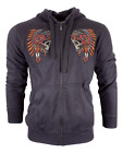 AFFLICTION Men's ZIP UP Hoodie Sweat Shirt IRONHORSE TRIBE Biker MMA