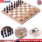 Wooden Chess Checkers Backgammon Folding Chessboard Magnetic Pieces Wood Board