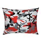 Camouflage Red Grey Black Camo Woodland Little Boy Pillow Sham by Roostery