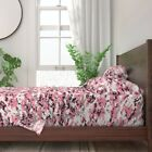 Pink White Black Camouflage Camo 100% Cotton Sateen Sheet Set by Roostery