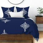 Monogram Calligraphy Flourish Classic Modern Navy Sateen Duvet Cover by Roostery