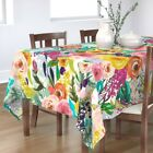 Tablecloth Big Floral Pink Yellow Mod Bright Bold Colorful Large Cotton Sateen